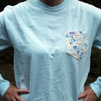 Alpha Xi Delta Long Sleeve Tee Shirt in Chambray with Pattern Pocket by the Frat Collection