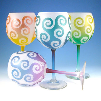 Frosted Wine Glasses with Spiral Waves design  Set by woodeyeglass