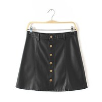 2017 Women A-line PU Skirt New Skirt Above Knee Mini Female Fashion Plus Size Empire Hot Sale Mini Skirt 72212