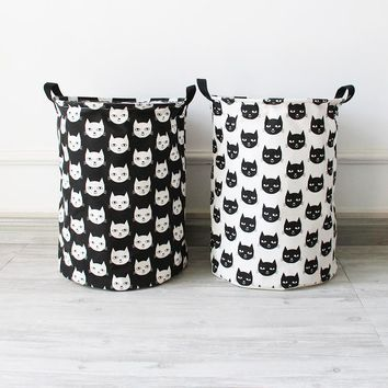 ROSEHOME 35*40cm Zakka Laundry Basket Cat Pattern Linen Fabric Barrels Laundry Bags Storage Basket for Dirty Clothes Kids Toys