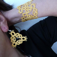 Tatting earrings and bracelet yellow  - handmade jewelry - party cocktail - vintage style - romantic set - gift for her - yellow set