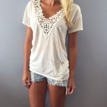 White Lace Neck T-Shirt