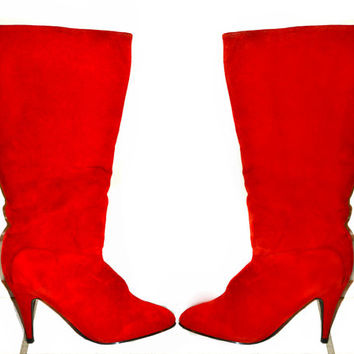 Vintage 80s Leather Red Stilleto Knee-High Boots by Chinese Laundry Size 8