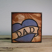 Tattoo Dad Heart Art Block Painting -- MatchBlox-1681