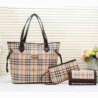 One-nice™ Burberry Women shopping shoulder bag female inclined shoulder bag Brown three piece G-3A-XNRSSNB