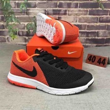 NIKE FLEX EXPERIENCE RN 6 Popular Men Casual Color Matching Comfortable Shock Absorption Breathable Sport Running Shoe Sneakers Black Orange I-CSXY