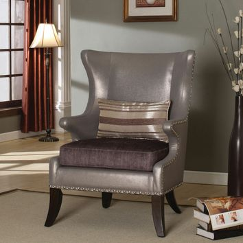 A.M.B. Furniture & Design :: Living room furniture :: Accent chairs :: Fawn 2 tone shiny faux leather and fabric flashy style wing back accent side chair with nail head trim
