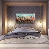 """Floral painting Red flower painting by Nandita Albright abstract acrylic painting wall art original paintings multicolor 48""""x24""""/122x61cm"""