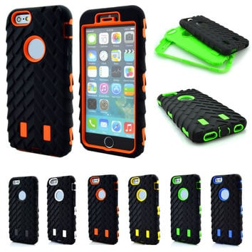 Hard Plastic 3 in 1 Heavy Duty Armor Hybrid Phone Cover for iphone 6 6s+