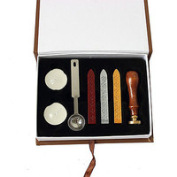 Practical Durability Pop Wax Seal Stamp Kit Set Rosewood Handle Copper Head LSUS