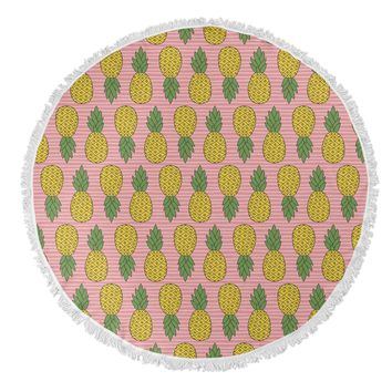 PINEAPPLE Round Beach Towel By Norhern Whimsy