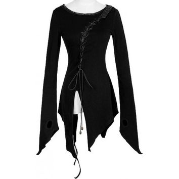 Gothic shop: asymmetric long-sleeve tunic top Punk Rave