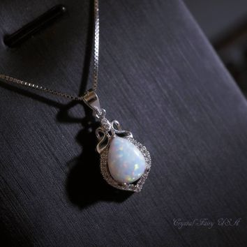 Full Sterling Silver Opal Necklace, Rose Gold Synthetic White Opal Jewelry - High Quality CZ Stone Dainty Halo Bridal Wedding Opal Necklace