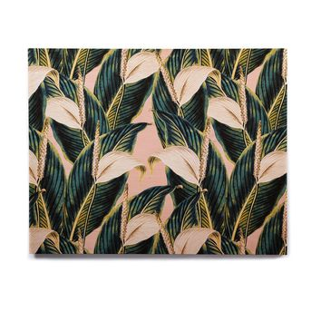 "mmartabc ""Botanical Flowers Vintage"" Pink Green Nature Floral Illustration Digital Birchwood Wall Art"