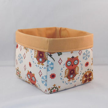 Tan Folk Art Style Owl Themed Fabric Basket For Storage Or Gift Giving