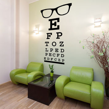 Wall Decal Glasses Eye Doctor Optometrist Letters Dorm Decor Fashion Trendy Eyewear Specs Frames Sunglasses Hipster