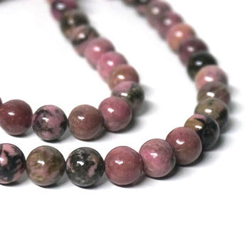 Rhodonite with matrix gemstone beads, 8mm round, natural pink, full strand (1109S)