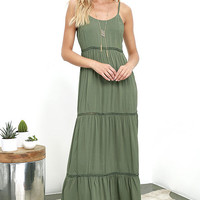 Beck and Call Olive Green Maxi Dress