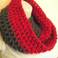 Scarlet and Gray Cowl Infinity Circle Scarf Neckwarmer