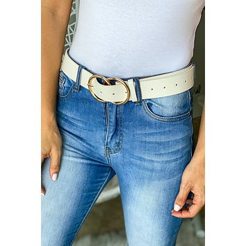 White Belt With Gold Buckle