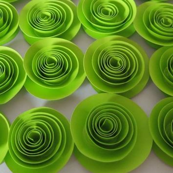 """Neon Green loose paper flowers set 12 florescent 1.5"""" roses teen bedroom decor, wedding decorations, bridal shower party supplies"""