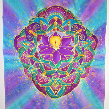 The Light Within, mandala art, lotus art, silk wall hanging,meditation art, yoga, goddess,pagan, spiritual, metaphysical