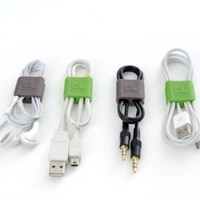 Bluelounge CableClips Small - Cable Management - Grey & Green