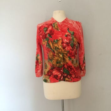 1960s watercolor cardigan / Darlene sweater / floral 60s sweater