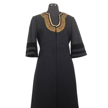 Dries Van Noten Wool Coat with Gold Collar