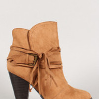 Women's Qupid Suede Buckle Fringe Almond Toe Ankle Bootie