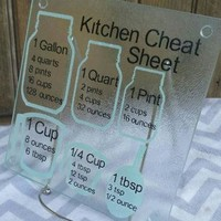 cooking measurement conversions cutting board kitchen cheat sheet decorative glass