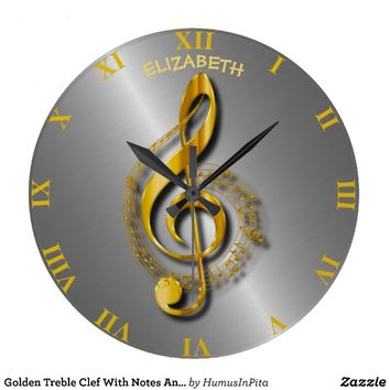 Golden Treble Clef With Notes And Shadows Large Clock