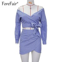 Casual Plaid 2 Piece Sets Mini Skirt Suits