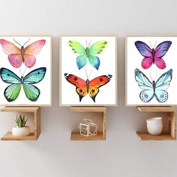 Butterfly Wall Art Canvas or Print, Butterfly Artwork, Butterfly Girl Bedroom Wall Art, Butterfly Wall Decor Set of 3, Butterfly Pictures