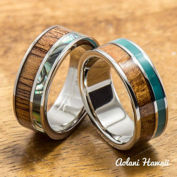 Abalone and Turquoise Hawaiian Koa Titanium Wedding Band Set (8mm - 8mm Width, Flat Style)