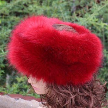 CREYCI7 new fashion faux fur huff multicolor sleek warm soft top quality fake fur hat winter women fluffy head decoration fashion