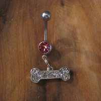 Belly Button Ring - Body Jewelry - Silver Rhinestone Dog Bone with Pink Gem Stone Belly Button Ring