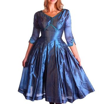 Vintage Electric Blue Silk Cocktail Dress Gown Johnny Herbert 1950s 34-28-Free
