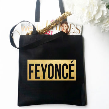 Tote Bag - Feyonce Box Metallic Gold