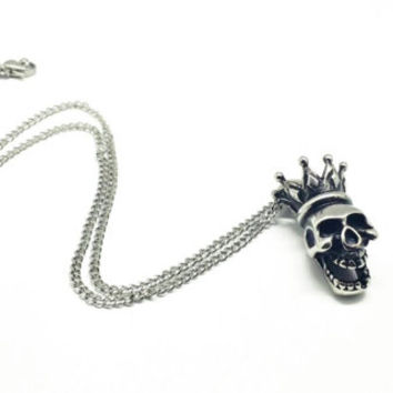 Skull with Crown Necklace/Stainless Steel Pendant