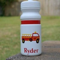 Personalized 20 oz. firetruck  sports bottle party favor