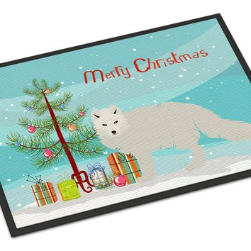 White Arctic Fox Christmas Indoor or Outdoor Mat 18x27 BB9244MAT
