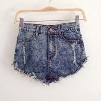 Haley Dark Denim High waist Shorts