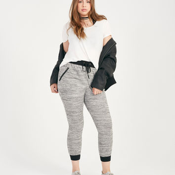 Plus Size Marled Zipper Pocket Joggers | Wet Seal Plus