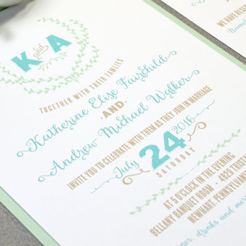 Mint and Turquoise Wedding Invitation Suite - Laurel Wedding Pocket Invitation - Monogram Wedding Invite Set - Rustic Wedding Invitations