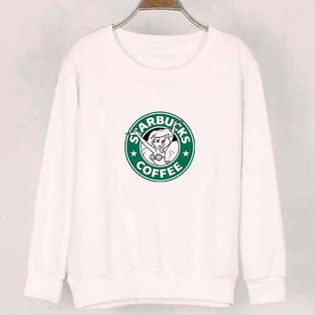 starbuck coffee sweater White Sweatshirt Crewneck Men or Women for Unisex Size with variant colour