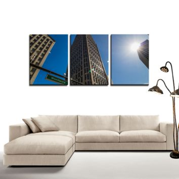 Woodward Detroit - 3 Panel Canvas Wall Art