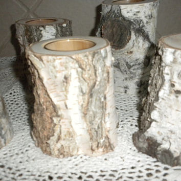 7  Individual White Birch Votive Candle Holders Perfect for Weddings, Christmas Decorations, Centerpieces