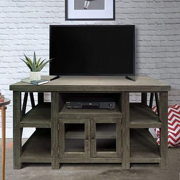 52 Inch Handmade Wooden TV Stand with 2 Glass Door Cabinet, Distressed Gray By The Urban Port