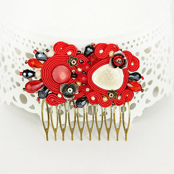 Red hair comb, soutache headpiece, Red hairpiece, Soutache hair accessory, Embroidered hair comb, Red headpiece,  Red Hair accessory